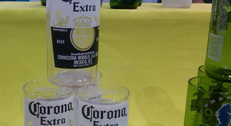 Corona bottles made in to drinking glasses.