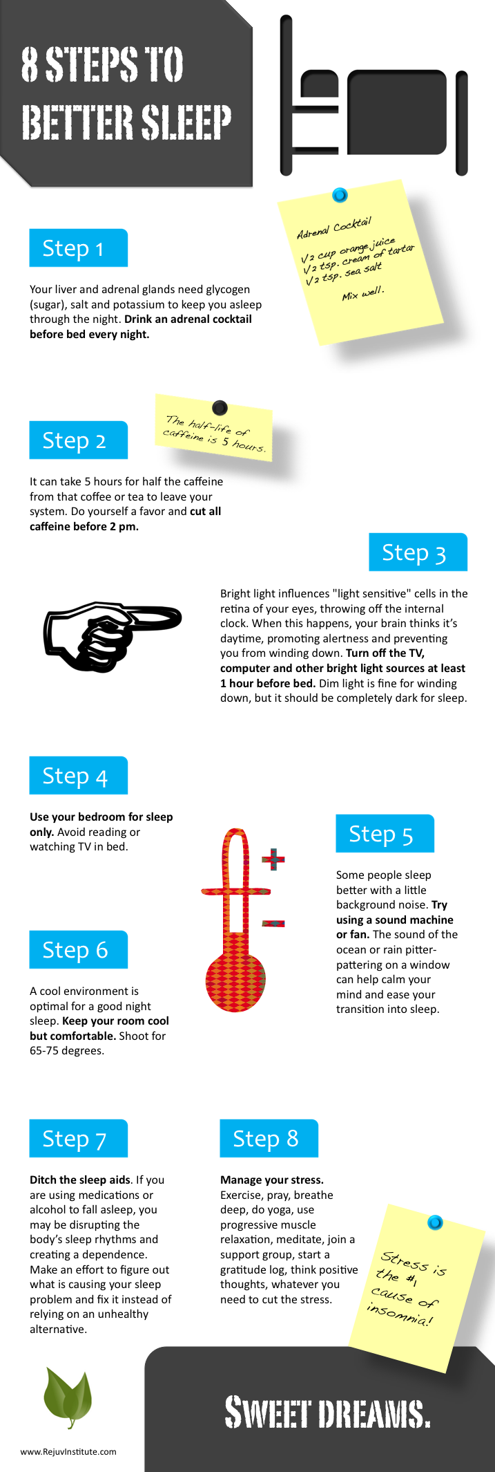 Infographic outlining the 8 steps to better sleep