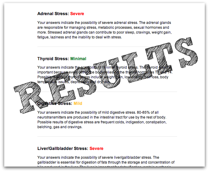 screenshot of wellness checkup results