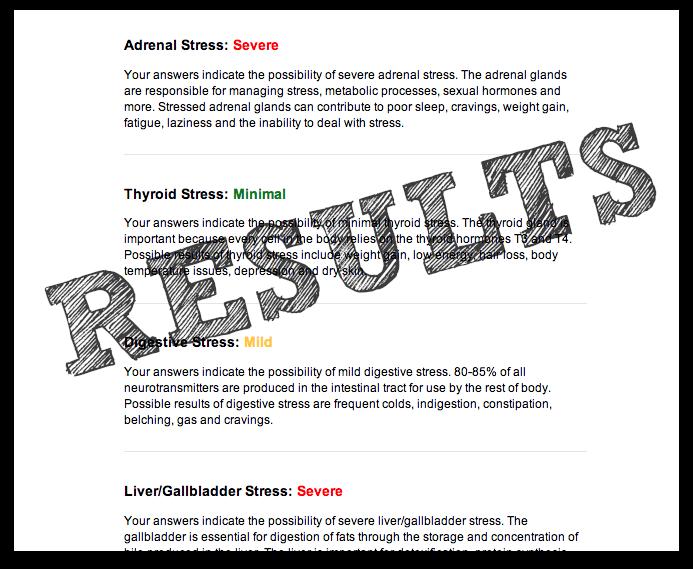 screenshot of wellness checkup results